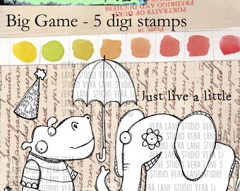 Big Game - Hippo and elephant digi stamps with accent images and sentiment; png and jpg files