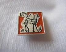 Old vintage soviet ussr pin badge Zebra