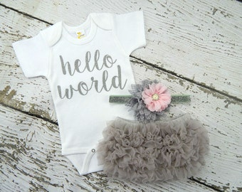 NEWBORN GIRL Coming  Home Outfit / Baby Girl  Hello World  Outfit / Grey Bloomers Pink & Grey Headband Set / Baby Girl Hospital Outfit