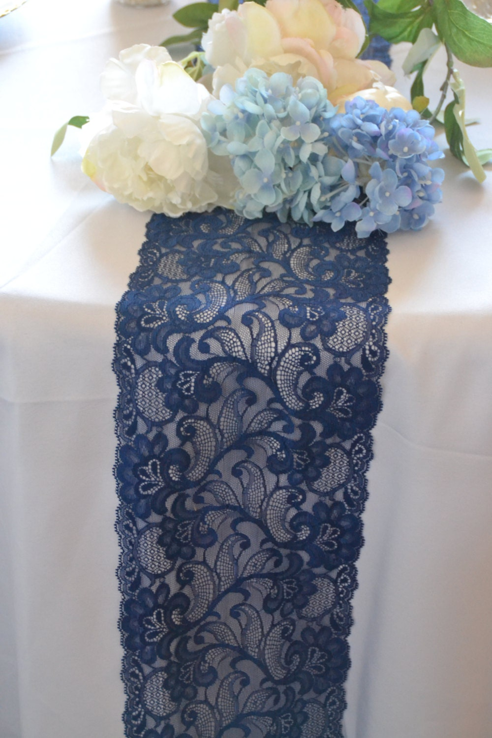 American navy lace table runner lace 3ft 12 ft navy blue for 12 foot table runner