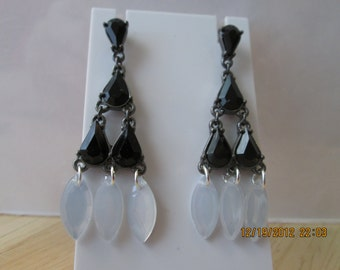 Post/Stud Dangle Earrings with Black Teardrop Beads and White Mother of Pearl Beads