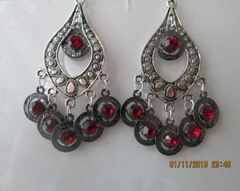 Silver Tone Teardrop Chandelier Earrings with Silver and Red Bead Dangles