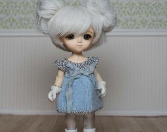 Beautiful silver leggings and blue fluffy angora knit dress with crushed silk ribbon for Lati Yellow, pukifee and similar dolls