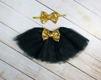 Newborn Tutu, Black Gold Tutu,  Newborn Baby Girl, Baby Girl, Photo Prop, Birthday Girl Tutu, Coming Home Outfit, Gold Sequin Bow Baby Girl