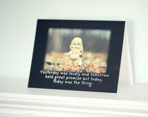 """Doll Card Adventures of Claudia Doll """"Today Was The Thing"""" Typographic Greeting Seize The Day Stationary"""
