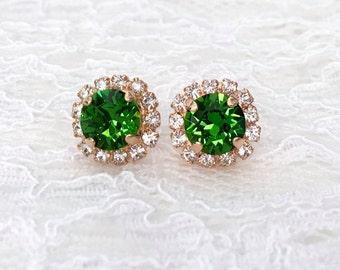 Green Earrings Green jewelry Green Bridesmaids Green Wedding Fern green Swarovski Crystal Emerald Green Bridal Petite Rose Gold Earrings