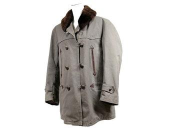 1940 français moyenne canadienne travailleur / années 1940 français mackinaw / français travailleuse vintage veste