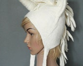 Unicorn headdress hand felted mythical beast hat from white Merino wool