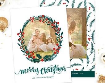Christmas Card Template for Photographers, Christmas Photo Card Template for Photoshop, Holiday Card Templates, Photography Templates HC302