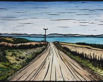 Landscape Linocut, Hand Painted Lino Print, Tasmanian Landscape, Country Scene