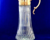 Pitcher Cut Glass Decanter Silver, Plated Made in Italy with Ice Tube, Glass Pitcher