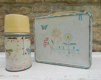 Vintage Metal Lunch Box and Thermos Canteen Flowers and Butterflies Organization Junior Miss  Lunchbox Container 1956 Aladdin Industries