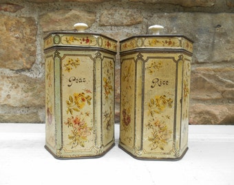 Antique Canister Set Tin Litho Metal with Hinged Lid and Porcelain Knobs Rustic Tole Flowers Floral Design Rice and Peas Set of Two
