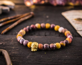 6mm - Frosted mookaite beaded stretchy bracelet with gold skull, bead bracelet, mens bracelet, gemstone bracelet, skull bracelet