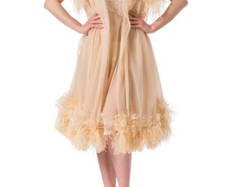 1950s Fabulous Sheer Chiffon Lingerie Set Ostrich Feather Robe and Lace Detailed Mini Nightgown SIZE: