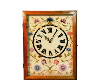 CREWEL NEEDLEPOINT CLOCK - Floral Clock Design with Roman Numerals Handmade Wood Frame with Glass Front Electric Clock Mantel or Wall Clock