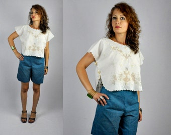 Vintage EYELET Blouse - See Through Blouse - Embroidered Crop Top - Ivory Blouse Cropped - Sheer - Scalloped Hem - Boho Romantic size S - M