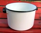 1950 White Enamel Stockpot with Black Enamel Trim, White Enamelware Stockpot, Black Trim Handled Stockpot, Soup Pot, Cooking Pot