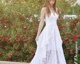 Wedding Gown, SuzannaM Designs, Assymetric Wedding Dress, Chiffon Wedding Gown, Long White Gown, Lace Wedding Dress, Open Back Dress, Elise