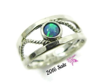 Sterling silver rope ring. Opal ring. Silver opal ring. Rope silver ring. Opak rope ring. (sr-9574). birthday gift ideas. Opal jewelry
