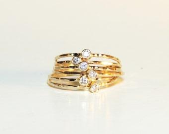 Diamond Ring - Delicate tiny natural diamond ring
