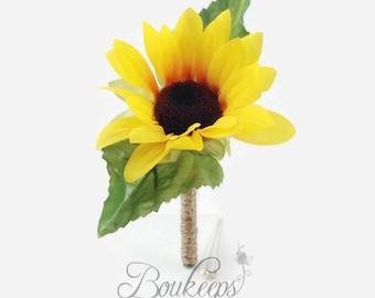 Sunflower Boutonniere, Silk Sunflower Boutonniere with Twine, Sunflower Wedding, Rustic Wedding, Country Wedding, Yellow Boutonniere, Groom