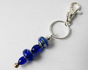 Blue Lampwork Glass Bead Keychain