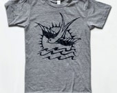 Sparrow Tattoo T Shirt - American Apparel Tri-Blend Vintage Fashion - Graphic Tees for Men & Women