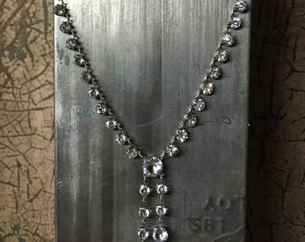 1920's Art Deco Sterling Silver & Crystal Rhinestone Lavaliere Necklace