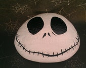 Nightmare Before Christmas Jack Skellington Hand Painted Stone Garden Art Home Decor