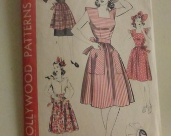Antique Hollywood Pattern 891 Misses Arpon, Pinafore and Bonnet Size 12