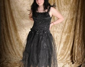 SALE! Child's black fairy dress or witch costume; girl's gothic clothing; halloween costume; fairy costume with wings
