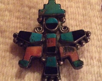 Old Pawn Handmade Sterling Silver Knifewing Dancer Pin - Zuni Inlay