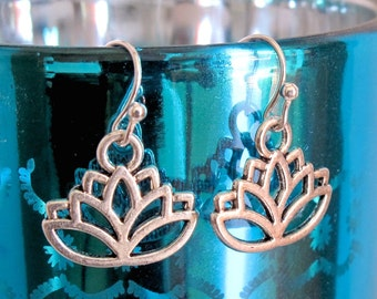 Silver Lotus Earrings, Yoga Earrings, Yoga Jewelry, Lotus Jewelry, Buddhist Jewelry, Silver Lotus, Zen Earrings, Lotus Charm