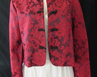 Vintage Asian Inspired Red shirt jacket made in USA frog buttons long sleeves