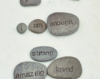 Positive affirmation stones, set of 12 - you can be