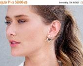 SALE Valentines day ear jackets, gold\silver earjackets, geometric triangle stud earrings - pair of gold stud earrings\ ear jackets