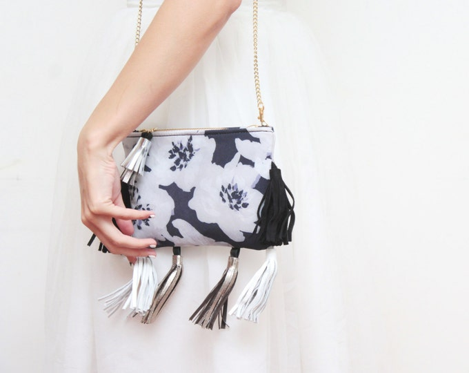 POSY /Floral shoulder bag-flower print purse-cross body bag-silver tassel purse-small romantic bag-blue black white silver-Ready to Ship