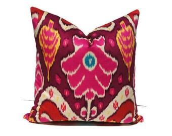 Fuschia Pink Ikat Pillow Cover, Sateen Pillow Cover, Ikat Screen Print Pillow Cover