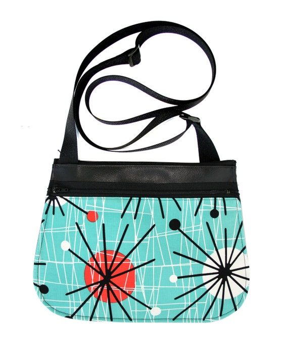 Aqua, retro, black vinyl, cross body, vegan leather, zipper top