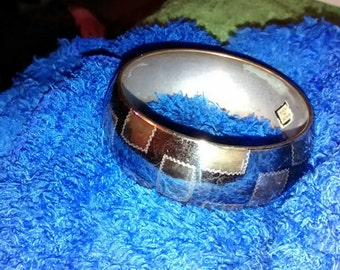 India Brass  Square Stitched Bangle Bracelet Etched Design...Large...Very Nice..