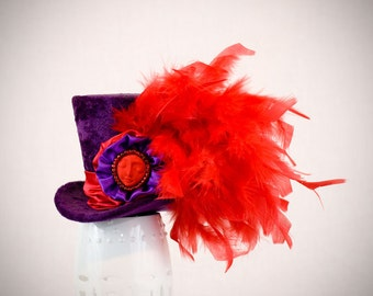 Purple and Red Mini Top Hat.Alice in wonderlad, mad hatter hat,fascinator,bachelorette party,Burlesque hat,Gothic,Steampunk hat,Showgirl