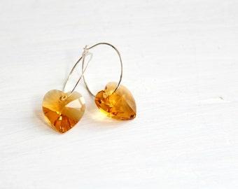 Minimalist Silver Heart Earrings Dainty Jewelry Small Sterling Silver Hoops Earrings Valentines Gift for Her