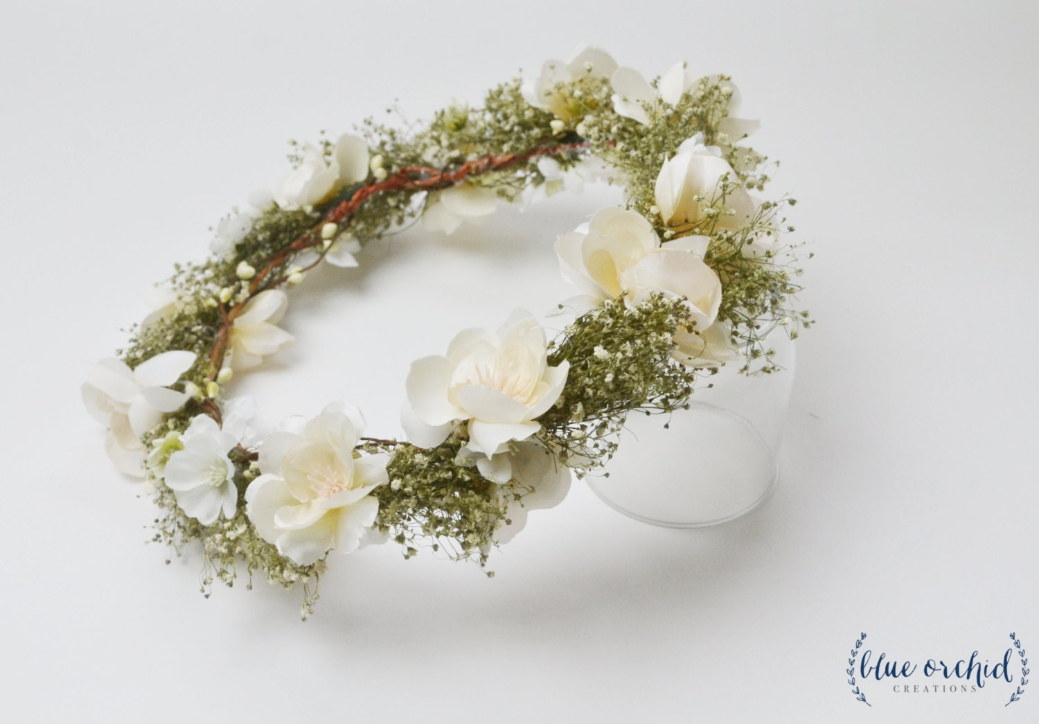 Flower Crown Baby s Breath Wedding Hair by blueorchidcreations