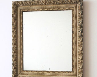 SALE - Antique Gesso Mirror - Gorgeous Antique Gesso Framed Foxed Mirror - Boho Chic - Shabby Chic