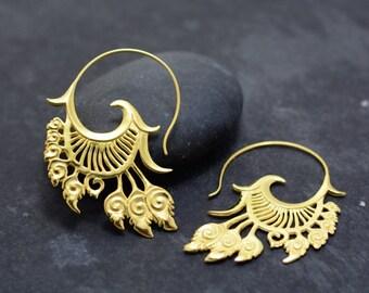 Ornate Earrings, Feather Earrings  -  Gold
