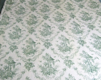 "BEAUTIFUL TOILE Pair (2) Vintage Designer Thermal Lined Curtain Panels 72"" wide x 89"" long  Green Toile"