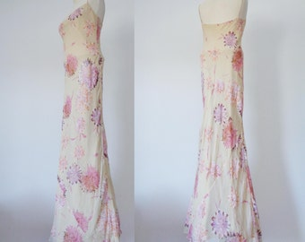 Vtg 90s does 30s  BEAUTIFUL Pale PEACH Painterly FLORAL Silk Gown, Small to Medium