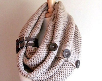 Infinity Knit Scarf with Buttons and Leather Cuff Neck Warmer Taupe Scarves Women Girls Fall Winter Spring Accessories