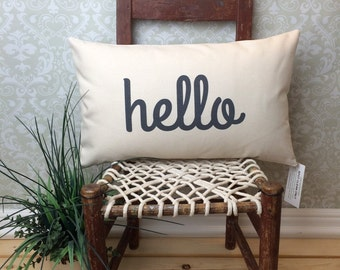 Hello Pillow with Insert, Entry Way Pillow, Lumbar Pillow, Long Pillow, Conversational Pillow, Sofa Pillow, Chair Pillow, Oblong Pillow